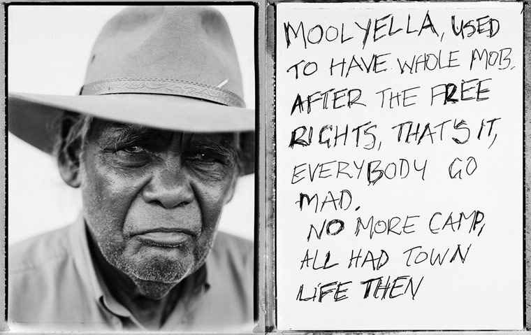 MOOLYELLA, USED TO HAVE WHOLE MOB, AFTER THE FREE RIGHTS, THAT'S IT, EVERYBODY GO MAD. NO MORE CAMP, ALL HAD TOWN LIFE THEN