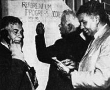 Report on the Referendum results includes a photograph of George Abdullah, Jack Davies and Charles Pell recording the progress of the vote at the Aboriginal Centre in Beaufort Street, Perth, May 29 1967. Reproduced courtesy of The West Australian Newspapers Ltd.
