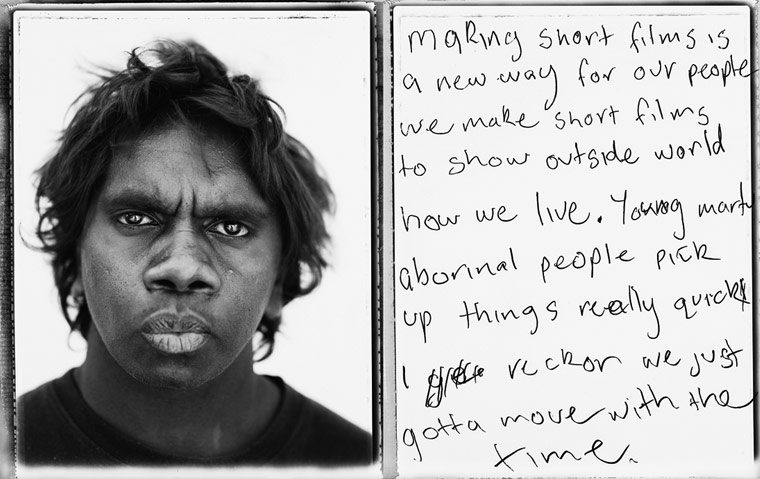 making short films is a new way for our people we make short films to show outside world how we live. Young Martu aborinal people pick up things really quick I reckon we just gotta move with the time.